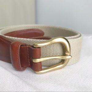 COACH Vintage Khaki Twill & Brown Leather Belt
